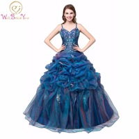 Cheap Quinceanera Dresses Luxurious Spaghetti Straps Handmade Crystal Lace Appliques Blue And Purple Mix Color 2016