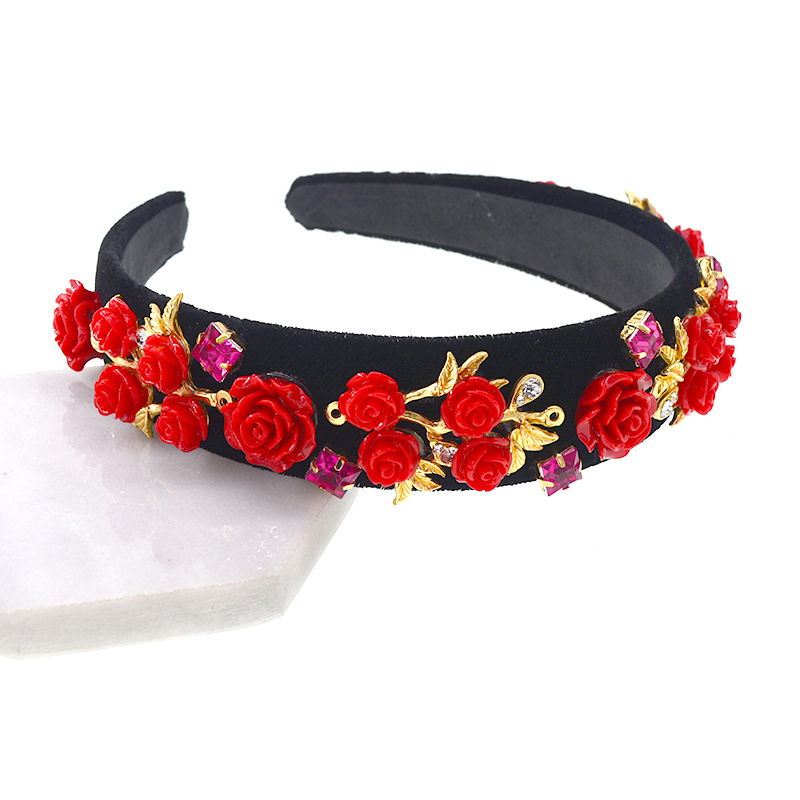 New Baroque headband red Flower Crown Pearls Crystal Headwear For Women Wedding Hair Accessories earrings Bridal tiara in Hair Jewelry from Jewelry Accessories