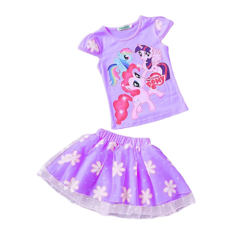 2017 New Summer Children Clothing Sets Little pony T-Shirt+Tulle Tutu Skirt 2pcs Suit Kids Casual Sport Suit Girls Clothes Set