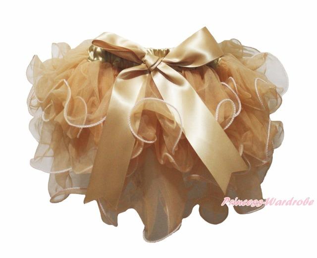 De Color Caqui de oro Pétalo Pettiskirt Dot Bow Baby Girl Dance Tutu NB-8Year