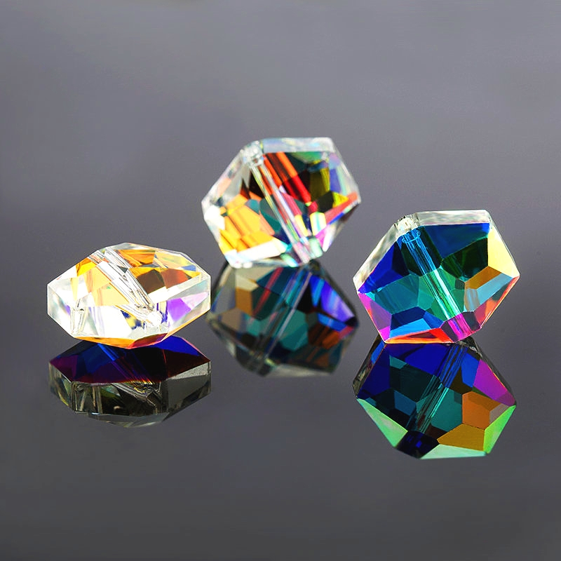 Glass-Beads Hexagon-Shape Shiny Earring-Making Faceted DIY Crystal for 10x12mm/12x14mm