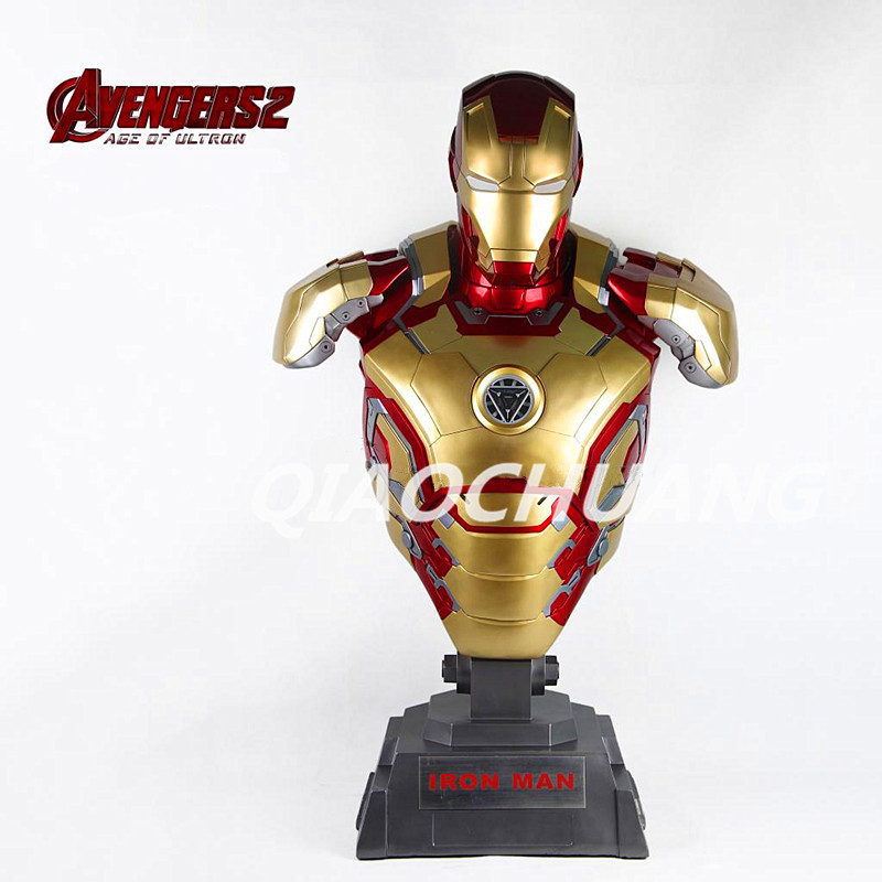 Statue Avengers Superhero Iron Man 1:1 Bust MK42 Tony stark Half-Length Photo Or Portrait With Light Resin Figure Model Toy W108 statue avengers captain america 3 civil war iron man tony stark 1 2 bust mk33 half length photo or portrait with led light w216