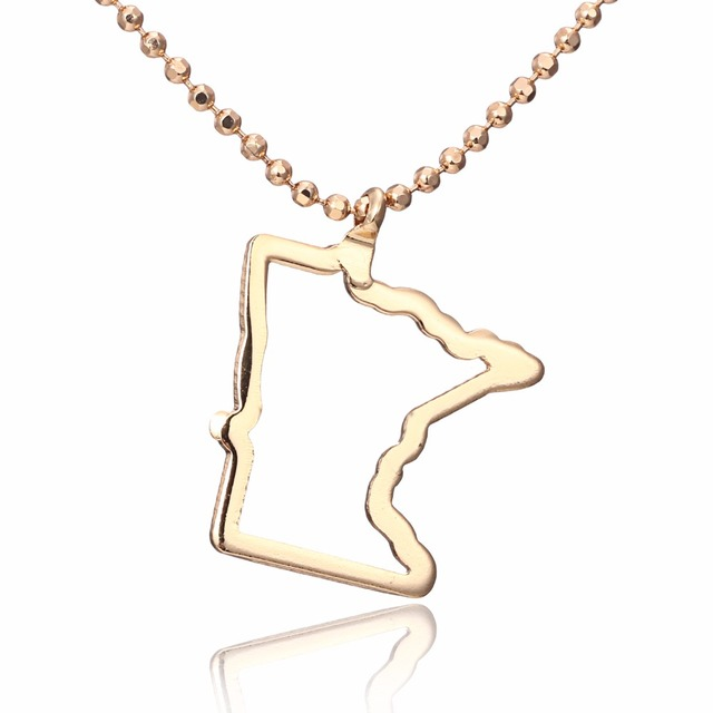 Hollow out gold color accessories america minnesota pendant hollow out gold color accessories america minnesota pendant necklace map necklace copper usa outline state aloadofball Images