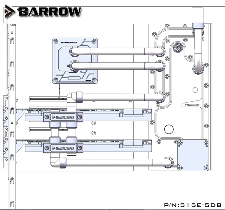 Купить с кэшбэком Barrow Acrylic Board as Water Channel use for PHANTEKS 515E/515ETG Computer Case use for Both CPU and GPU Block RGB Light 3PIN