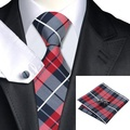 SN-342 Dimgray Branco Xadrez Vermelha Tie Hanky Abotoaduras Define 100% Gravatas De Seda dos homens para homens Casamento Formal Do Partido Do Noivo