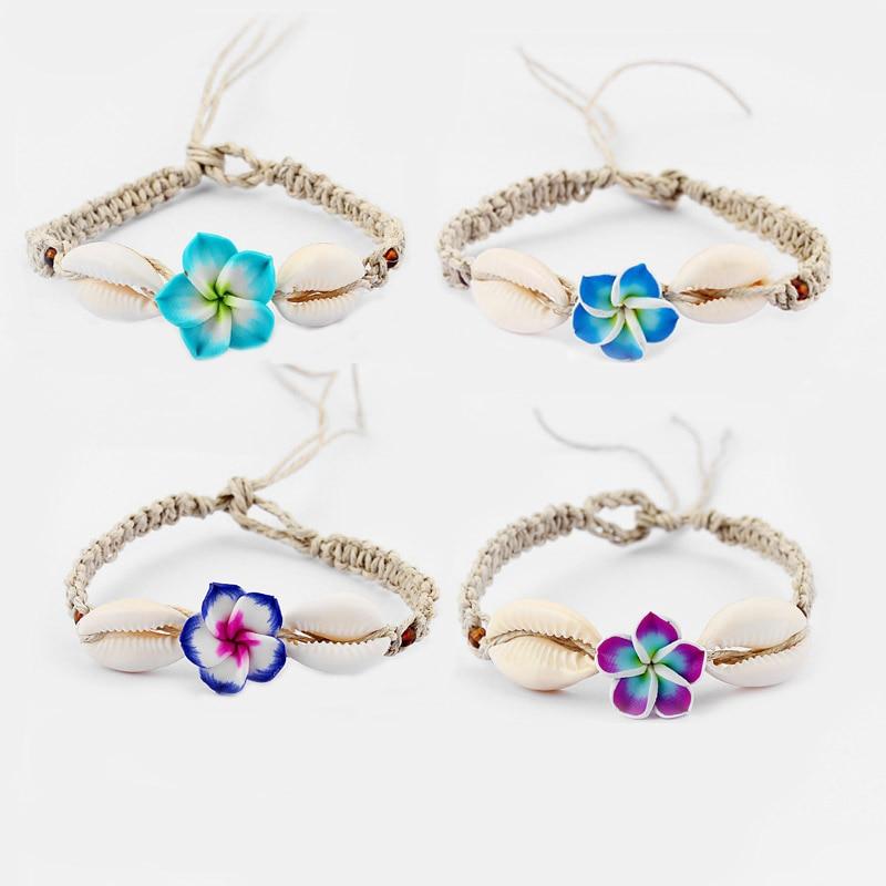 1pcs  Plumeria Flower Fimo Clay Shell Charm Pendant Bracelets Waxed Cord Bracelets Bohemia Friendship Handmade Jewellery jewellery