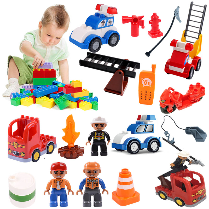Kids Fireman Fire-fighting Fire Truck Building Blocks Baby Toys For Children Compatible With Duploed Educational Toy Xmas Gift