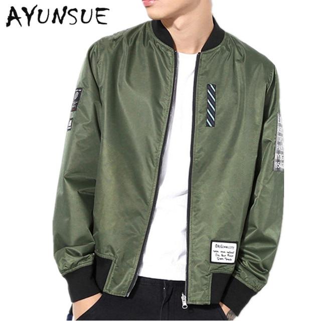 New 2018 Army Green Spring Jacket Men Bomber Jacket Mens Coat Casual Both Sides Wear Men's ...