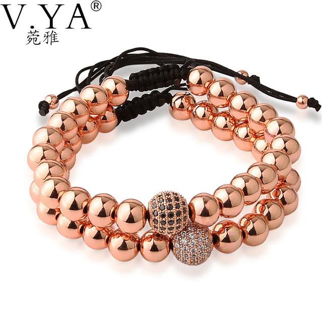 8mm Rose Gold Bead Bracelets For Women Jewelry 19 To 34cm Adjule Size Anil Arjandas Style