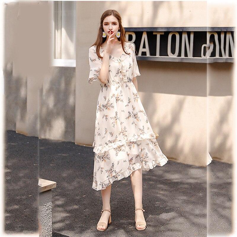 2019 Printemps Automne Mode grande taille à manches longues Col V Boho robe pour femmes Vintage mousseline de soie imprimé floral V592