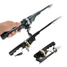 Pole Combo Fiberglass Fishing Rod Reel Lure Spinning Rod Fish Tackle Set + Line 133/158cm Folding Telescopic Fishing Pesca Rods