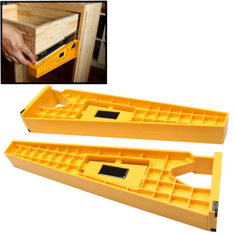 2Pc/set Drawer Slide Jig Mounting Bracket Box Cabinet Installation Jig Hardware Install Guide Tool For Concealed Hinge Jig