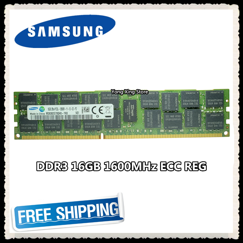 <font><b>Samsung</b></font> server memory <font><b>DDR3</b></font> 16GB 32GB 1600MHz <font><b>ECC</b></font> <font><b>REG</b></font> DDR3L PC3L-12800R Register DIMM RAM 12800 16G 2RX4 image