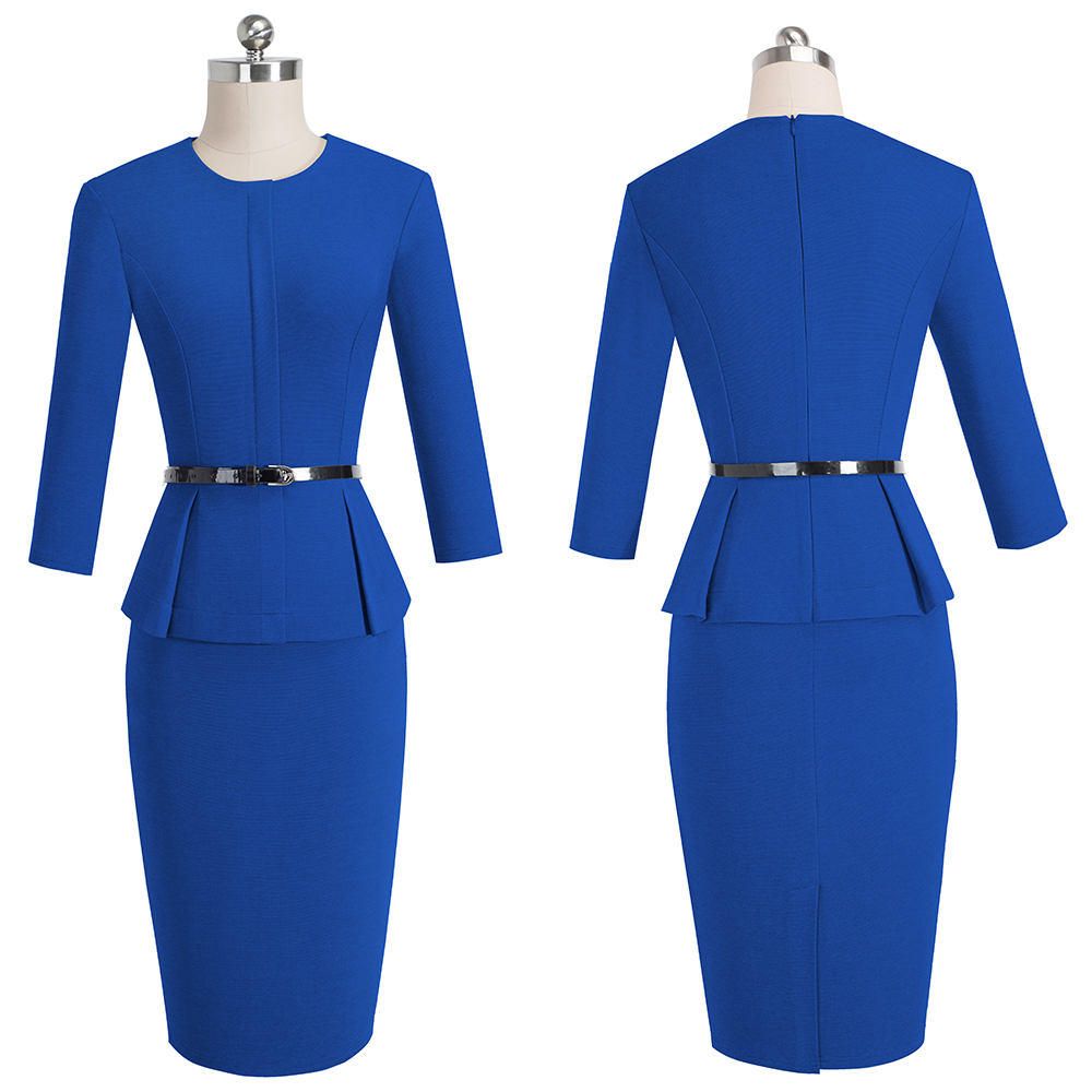 Nice-forever Vintage Elegant Wear to Work with Belt Peplum vestidos Business Party Bodycon Office Career Women Dress B473 5