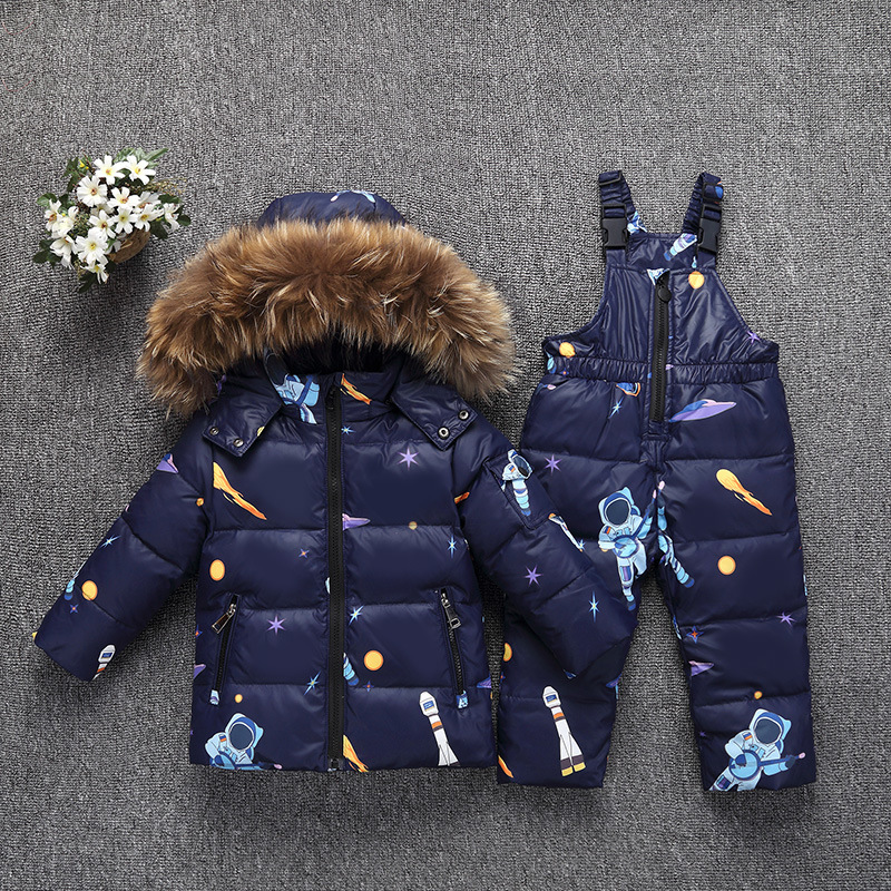 -30 Degrees Winter Children Down Jacket Clothing Sets Furry Collar Girls Down Jackets + Overalls Kids Warm Suit For Boys