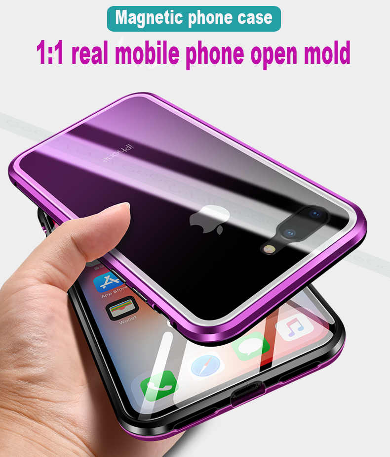 Magnetic clear  tempered glass Metal phone cover case  (8)