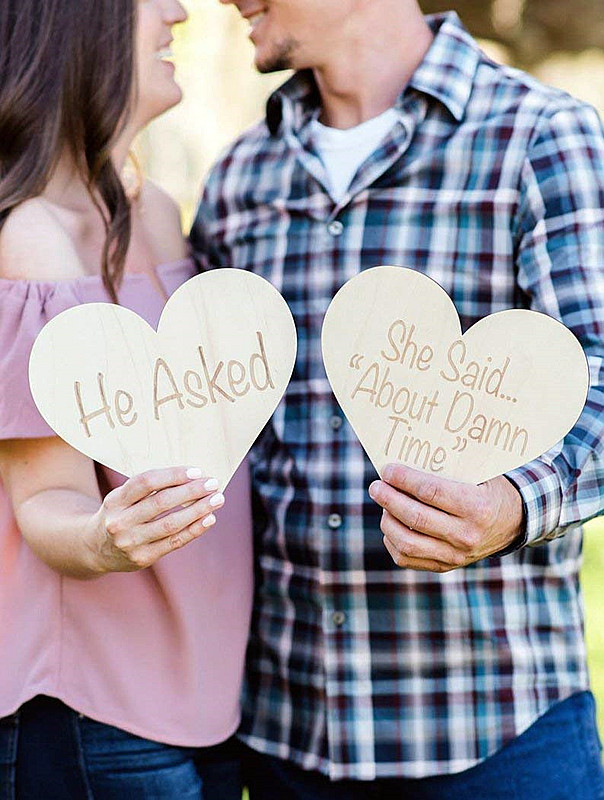 Engagement Sign Photo Prop, Wooden HeartsHe Asked., Rustic Wood Sign Set for Save the Date Photo or Decor Ideas image