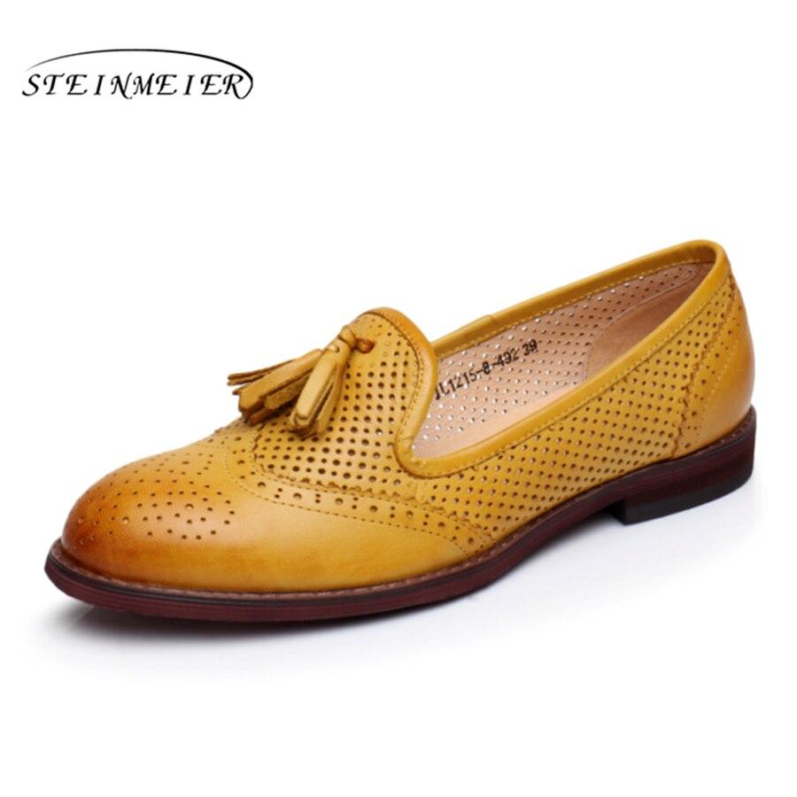 100% Echtem Schaffell Leder Brogue Yinzo Dame Wohnungen Schuhe Vintage Handgemachte Oxford Schuhe Für Frauen Beige Blau Grün Gelb