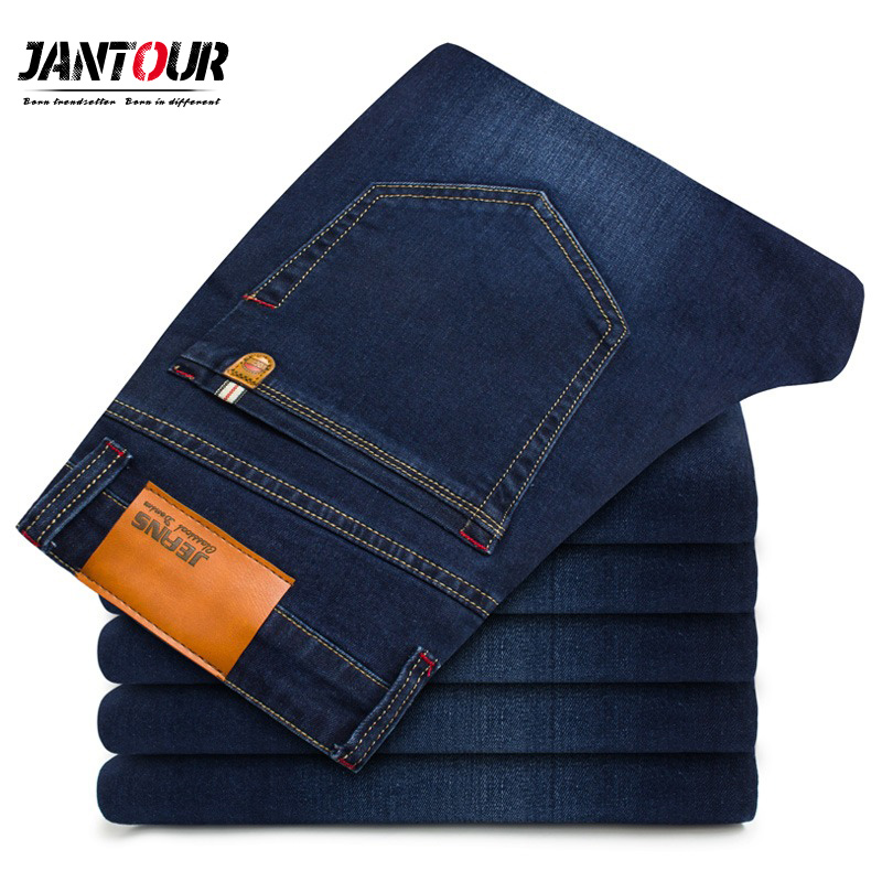 jantour2018 Mens brand   jeans   Fashion Men Casual Slim fit Straight High Stretch Feet skinny   jeans   man blue hot sell male trousers