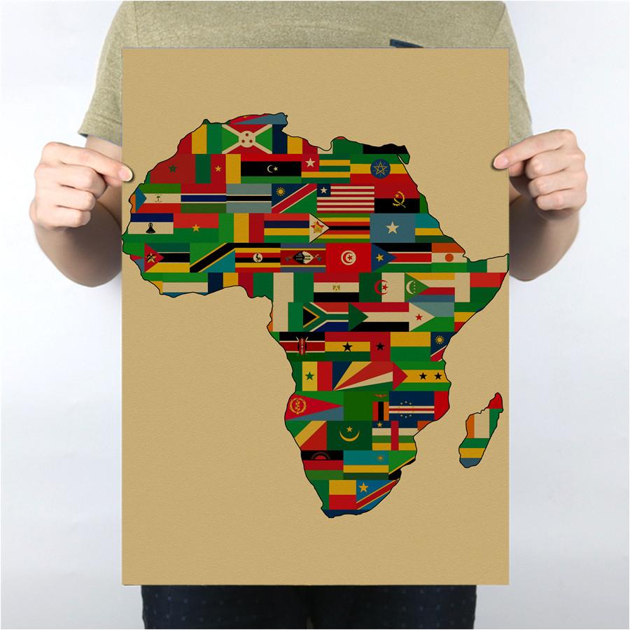 Heisser Verkauf Krafts Papier Afrika Karte Poster Fr Bro Wohnzimmer Zimmer Cafe Bar Pub Decor Wandaufkleber