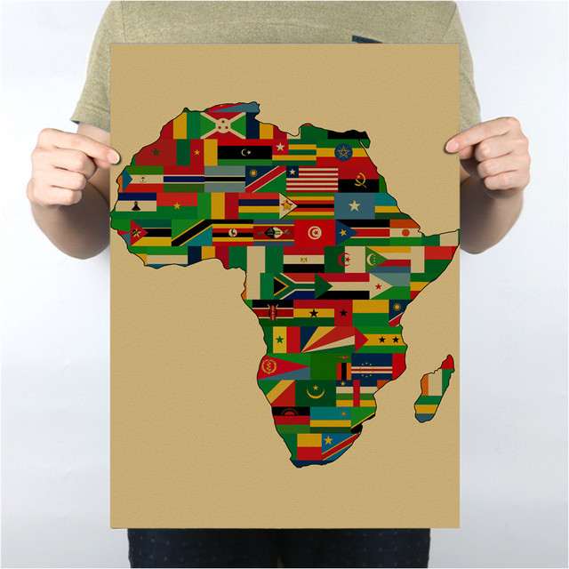 Hot sale Krafts paper Africa map Poster for Office Room Living