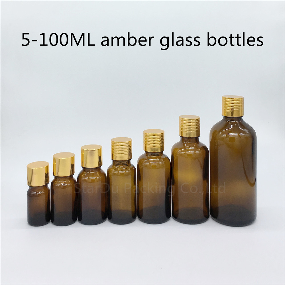 5ml 10ml 15ml <font><b>20ml</b></font> 30ML 50ml 100ml amber <font><b>Glass</b></font> <font><b>Bottle</b></font> <font><b>Vials</b></font> Essential Oil <font><b>Bottle</b></font> <font><b>with</b></font> gold <font><b>screw</b></font> <font><b>cap</b></font> Perfume <font><b>bottles</b></font> image