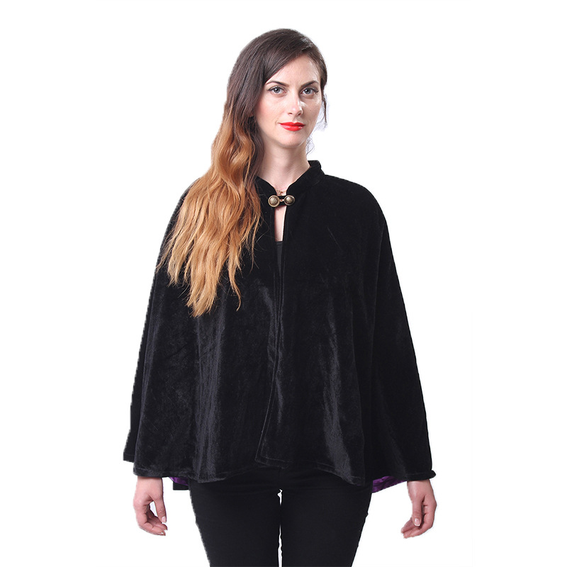 Halloween Vampire Death Witch Ghost Velvet Short Cape Shawl Gothic Medieval Renaissance Victorian Robe Cloak Costume Accessory
