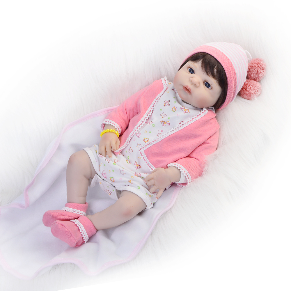 23 inch Full Silicone Vinyl Newborn Baby Doll  Lifelike 57cm Reborn Babies Dolls Fashion Princess Toy For Girls Birthday Gift 23 inch full silicone vinyl bebe reborn baby dolls lifelike princess girl handmade toy realistic doll baby alive christmas gift