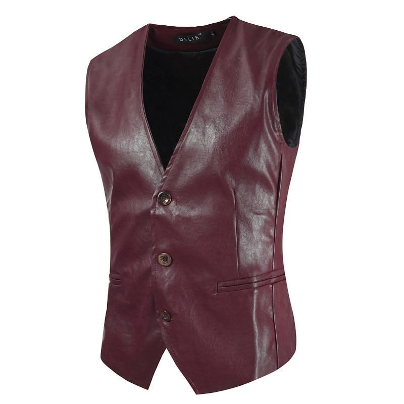 2019 Lente Mannen Mode Lederen Slanke Vesten Voor Blazers Mannen Casual Lederen Pak Vest Laat Onze Grondstoffen Naar De Wereld Gaan