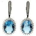 Elegante Londres Topázio Azul, branco CZ Criado Noivado da Mulher 925 Brincos de Prata 40x16mm