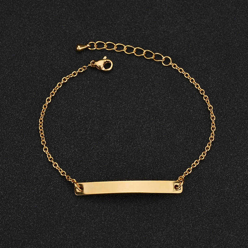 ELSEMODE Customize Engrave Bracelets for Women Men Stainless Steel ID Bracelet Personalize Engrave Name LOGO Bangles Femme Gift