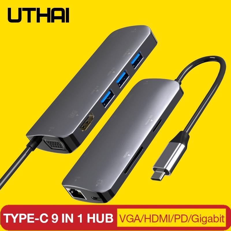 UTHAI J09 Type C Multi USB 3.0 HDMI adaptateur Dock pour MacBook Pro accessoires Type C 3.1 séparateur 3 ports USB C lecteur de carte HUB - 3