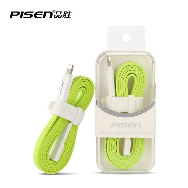 Pisen Original 2016 0.8M Fashion Colorful Flat USB Cable for iPhone 6s 6 5s 5 ipad Air Mini 4 3 2