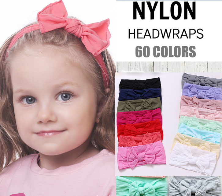 MengNa 30pc New Solid Nylon Headband Bows Headbands For Cute Kids Girls Hair Girls Turban Hairband Children Soft Cotton Headband