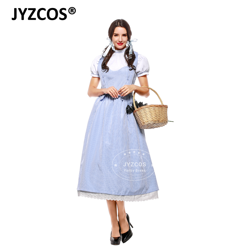 JYZCOS Adult Vintage Style The Wizard of OZ Dorothy Costume Halloween Costumes for Women Girls Dorothy Cosplay Cotton Long Dress in Movie TV costumes from Novelty Special Use