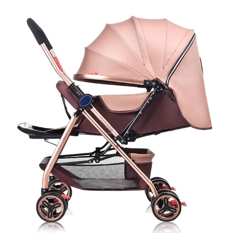 Ultra Light Four wheel Baby Cart Folding Bidirectional Push Handle Can Sit Lie Newborn Baby Carriage Portable Stroller Pram 0~3Y