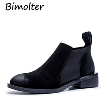 Bimolter 2018 Autumn Wome Boots Soft Leather Chelsea Women Round Toe Sewing Ankle for Low Heels Shoes LASB003