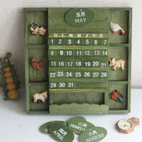 Coloffice 1PC Wood Retro Calendar Learning Periodic Planner Table Stationery Fashion Hourse Decorative Hang Furnishing Calendar