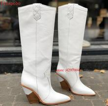 2019 New brand Snakeskin leather women knee high boots sexy pointed toe western cowboy mid-calf chunky wedge