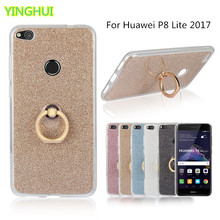 Huawei P8 Lite 2017 Case Flash powder 3D Relief Phone Case For Huawei P8 Lite 2017 Case tpu Silicone Soft Back Cover With Ring