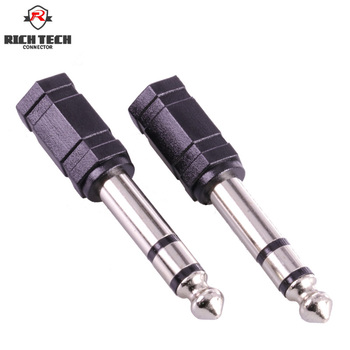 5pcs stereo 6.35 audio connector male plug 6.35 to female jack 3.5 adapter 6.35 wire connector audio video lighting application