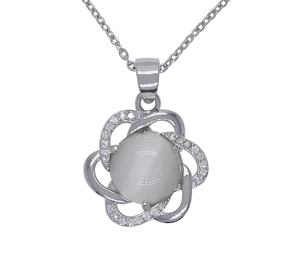 925 Pingente de Prata com Branco Opal Pedra Forma de Flor Pingente de Prata