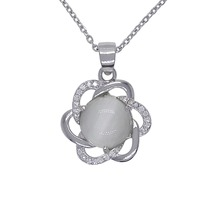 Wholesale Fashion Silver Opal Pendant Solid 925 Sterling With White Opal&Zircon YH2012