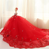 Doll + Wedding Dress /100% Handmade Warm Red Luxury Crystal Bride Wedding Doll Big Trailing Evening Gown For Kurhn Barbie Doll