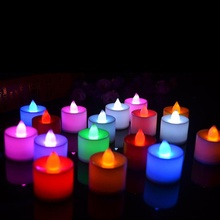 10 stücke Batterie Powered LED Kerze Multicolor Lampe Simulation Farbe Flamme Blinkende Tee Licht Hause Hochzeit Geburtstag Party Decor(China)