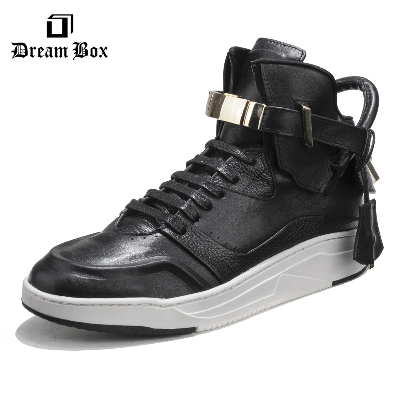 Casual shoes mens hot sale flat sneakers breathable platform Metal lock Mens boots high to help casual