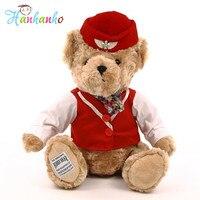 Air Hostess Bear Plush Toy Teddy Bear With Clothes Kids Soft Stuffed Animal Lovely Doll 35cm