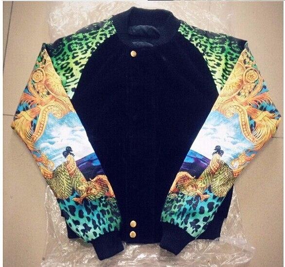 Vintage Colorful  mounted marine green leopard print mens Velvet jacket coat