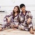 Casal quente de primavera e outono de seda roxo impresso longo-calças de mangas compridas Pijamas treino