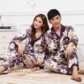 Couple warm spring and autumn purple silk printed long-sleeved pants tracksuit Pyjamas